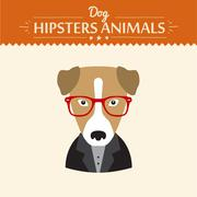 Hipster character elements for nerd puppy dog with customizable face look and - stock illustration