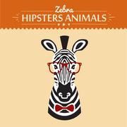 illustration of zebra gentleman with flowers, greeting card design - stock illustration