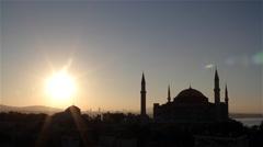 HAGHIA SOPHIA MOSQUE AYA SOFYA & SUNRISE, SULTANAHMET, ISTANBUL, TURKEY Stock Footage