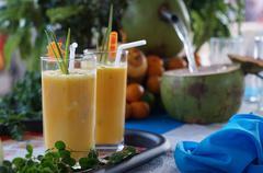 Coconut sap and Orange Juice Stock Photos