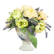 Bouquet from artificial flowers arrangement centerpiece in old vase. - stock photo