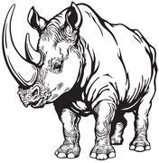 rhino black white - stock illustration