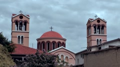 Cyprus Greek side Limassol 014 big cathedral with dome and two bell towers Stock Footage