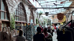 Cyprus Greek side Limassol 008 old shopping mall under a glass roof Stock Footage