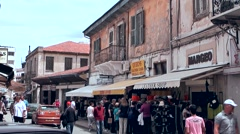 Cyprus Greek side Limassol 005 downtown souvenir shops in old buildings Stock Footage