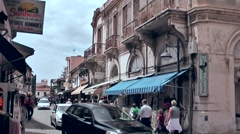 Cyprus Greek side Limassol 004 downtown street cafes under awnings Stock Footage