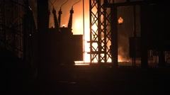 Fire at substation Stock Footage