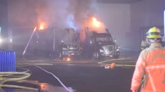 semi truck and trailer fire - stock footage