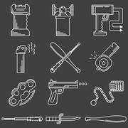 Flat line icons collection of self-defense accessory Stock Illustration