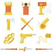 Flat color icons collection of self-defense Stock Illustration