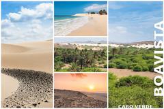 Picture montage of Boavista island landscapes  in Cape Verde archipel - stock photo