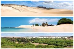 Picture montage of Boavista island landscapes  in Cape Verde archipel - stock photo