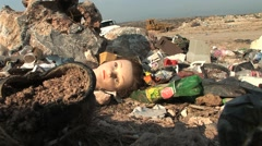GARBAGE DUMP IN MEXICO WITH DOLLS HEAD Stock Footage