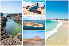 Picture montage of Sal island landscapes  in Cape Verde archipel - stock photo