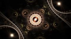 Glossy gold fractal clockwork, digital artwork for creative graphic design - stock footage