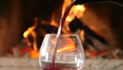 Wine Poured Into Glass Slow Motion Close Up - Warm Atmosphere Stock Footage