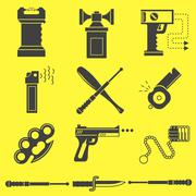 Black vector icons for self defence Stock Illustration