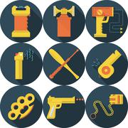 Flat vector icons for self defence - stock illustration