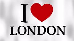 I Love London waving flag Stock Footage