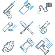 Flat line icons vector collection of self-defense Stock Illustration
