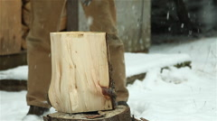 Stock Video Footage of Axe Splitting Through Firewood Slow Motion Medium Close
