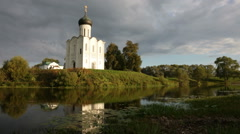 Church of the Intercession of Holy Virgin on Nerl River, Bogolubovo, Russia Stock Footage