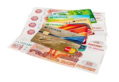 Photo of VISA and Mastercard credit card with russian rubles Stock Photos
