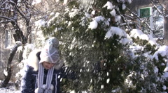 Girl shakes the snow from the tree Stock Footage