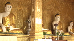 Pathein, Buddha Statues At The Shwemokehtaw Pagoda Stock Footage