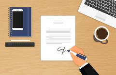 Businessman is signing a contract - stock illustration