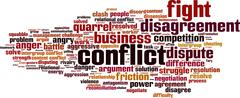 Conflict word cloud - stock illustration