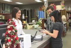 A home design shop with emploee clerk - stock photo