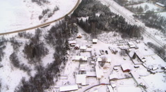 Top view of snow-covered village Stock Footage