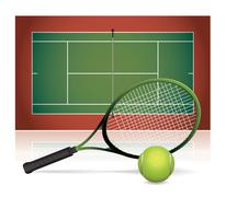 Realistic Tennis Court Illustration with Racket and Ball - stock illustration