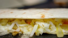 Quesadilla Sizzling on Griddle Stock Footage