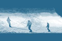 Silhouette snowboarders successfully descends from the Alpine slopes. - stock illustration