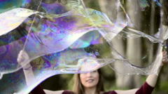 Stock Video Footage of Making  Super Soap Bubbles