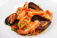 Seafood mixed saute - stock photo