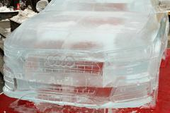 A full size ice sculpture of an Audi Q3 Stock Photos