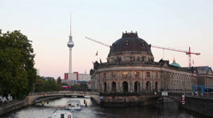 Berlin, Germany cityscape early in the evening Stock Footage