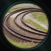 Tram rails in objective lens Stock Photos