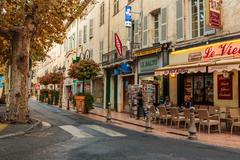 Street in the old town Antibes in France. Stock Photos