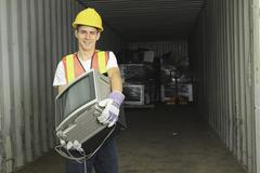 A worker who recycling thing on recycle center - stock photo
