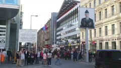 Checkpoint Charlie touristic attraction in Berlin - stock footage
