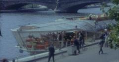 Paris 16mm 60s Vintage Boat Seine Stock Footage