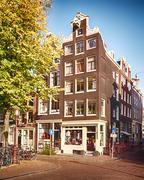 House and street in Amsterdam Kuvituskuvat