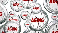 Aging Words Clocks Time Passing Getting Older Maturity - stock footage