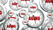 Stock Video Footage of Aging Words Clocks Time Passing Getting Older Maturity
