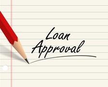 Pencil paper - loan approval - stock illustration