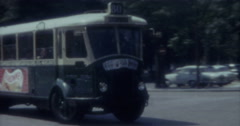 Paris 16mm 60s Vintage Bus Street Stock Footage